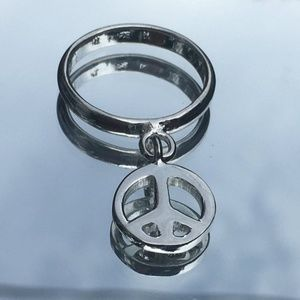 Peace Sign Silver Charm Ring Size 5 3/4